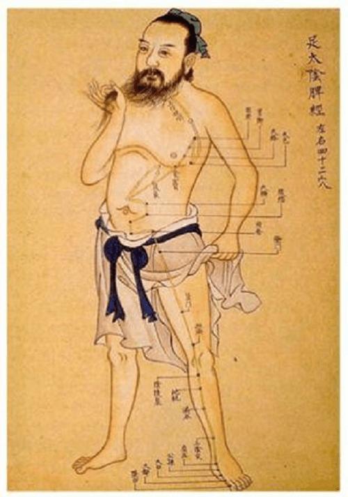 Rycina ze starożytnego tekstu dotyczącego chińskiej akupunktury, przedstawiająca punkty nakłuć podczas zabiegu wzdłuż meridianów ciała