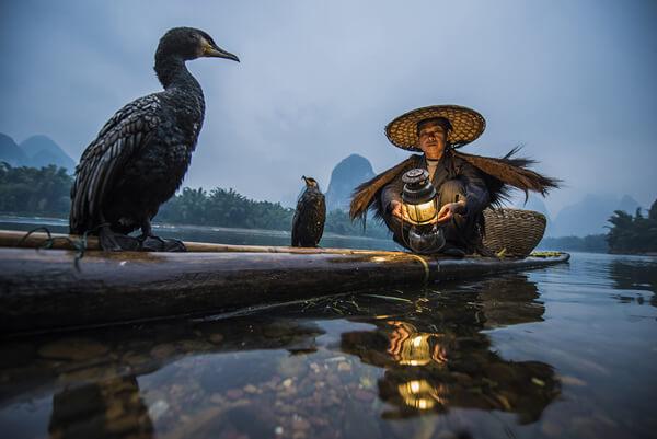 Rybak z kormoranem